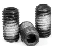 Cup Point Socket Set Screws, Cup Point, Nylon Patch, Black, Alloy